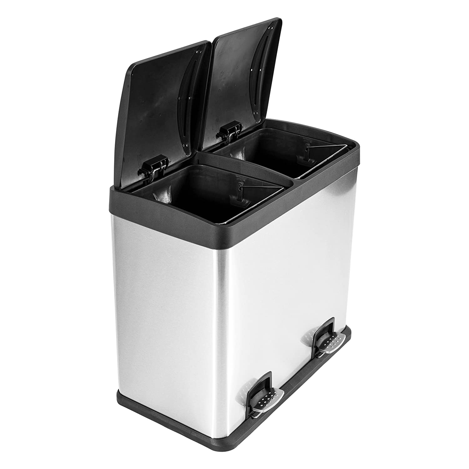 Kendan - Stainless Steel 48 Litre Pedal Recycle Dustbin Recycling ...