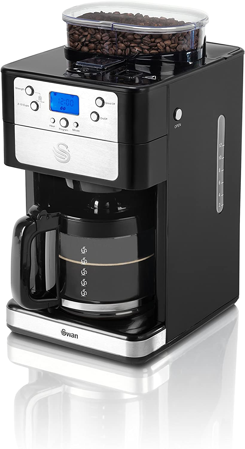 Coffee Maker by Swan All In One Bean to Cup With A Coffee Pot Perfect Coffee Any Time Of Day 1.25L