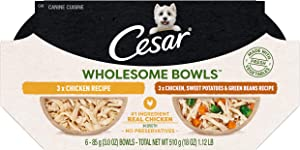 Cesar Wholesome Bowls Adult Soft Wet Dog Food Variety Pack, Chicken Recipe and Chicken, Sweet Potato & Green Beans Recipe, (6) 3 oz. Bowls