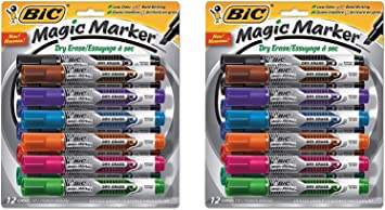 Assorted Colors BIC Magic Marker Brand Dry Erase Marker Chisel Tip 4-Pack