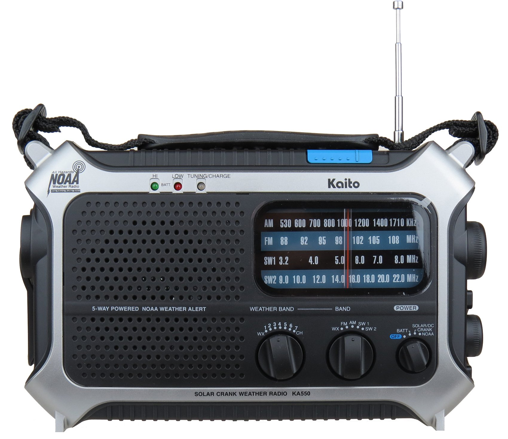 Kaito KA550 5-Way Powered AM/FM Shortwave NOAA Weather Emergency Radio with PEAS (Public Emergency Alert System) (Silver) by Kaito