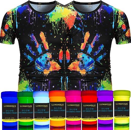 Tela luminosa y textil, pintura UV – Juego de 8 pinturas textiles, color negro brillante, colores fluorescentes – colores de ropa – Vibrantes brillantes pinturas de tela: Amazon.es: Amazon.es