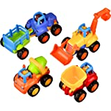 Coolecool Push and Go Pull Back Vehicles with Lasting Friction Power for Baby Toys 18 Months (4 Play Vehicles: Tractor, Bulldozer, Dumper, Cement Mixer)