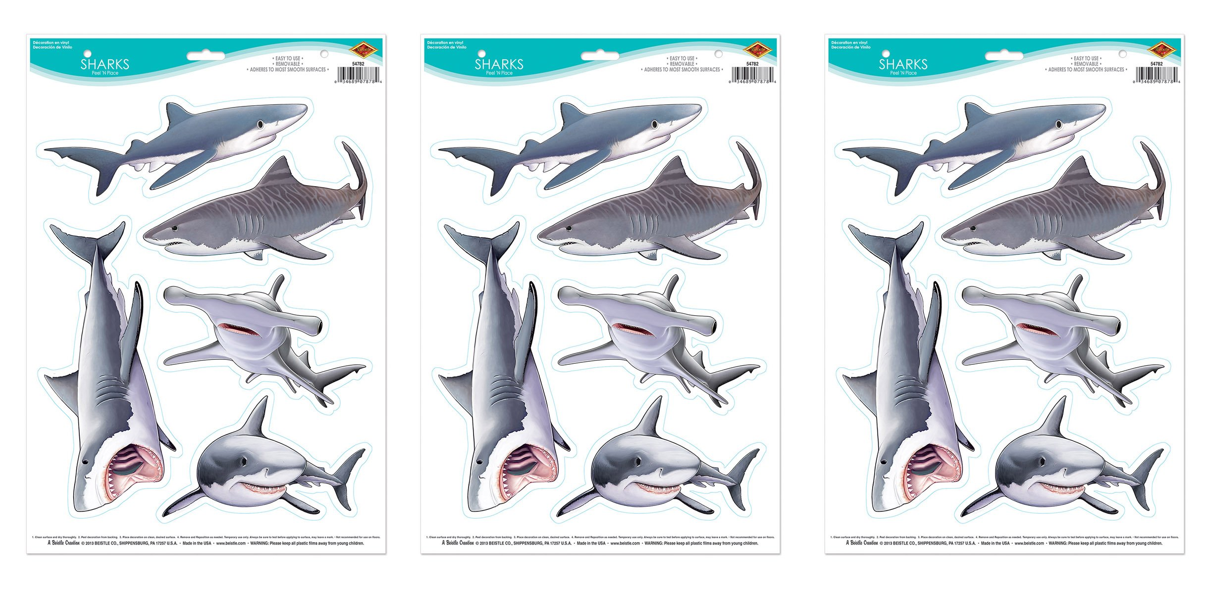 Beistle 54782 3 Sheets Sharks Peel 'N Place, Multicolored