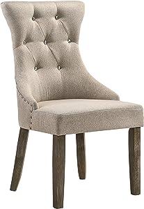 ACME Gabrian Dining Chair (Set-2) - - Fabric & Reclaimed Gray