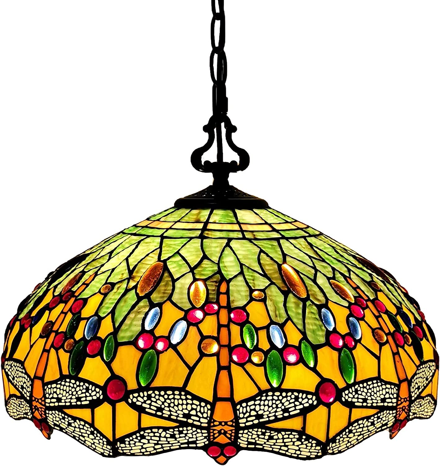 Tiffany Style Hanging Pendant Lamp Ceiling 18 Wide Stained Glass Shade Green Orange Dragonfly Antique Vintage 2 Light Decor Game Living Dining Room Kitchen Gift AM1027HL18B Amora Lighting
