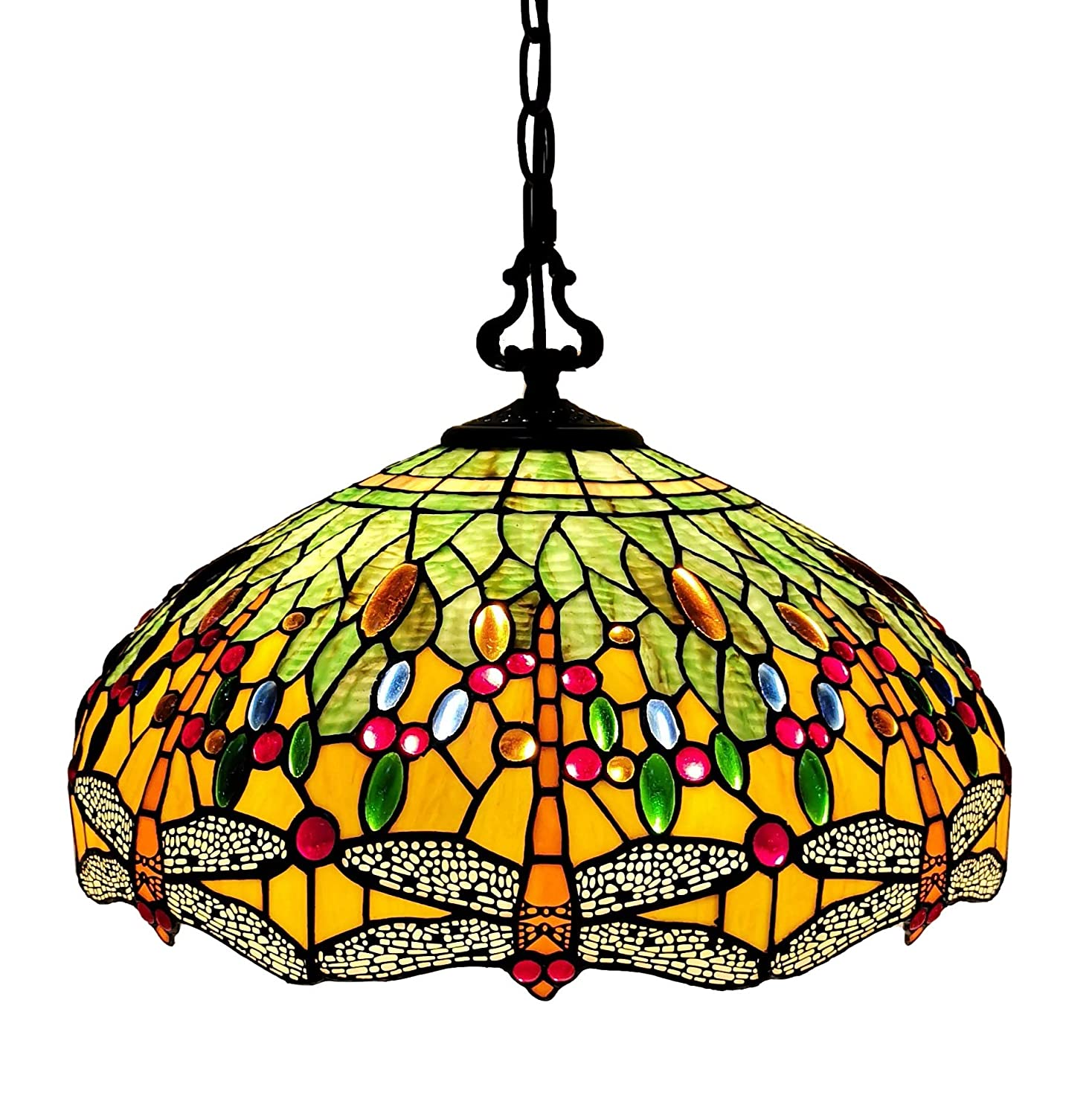 "Tiffany Style Hanging Pendant Lamp Ceiling 18"" Wide Stained Glass Shade Green Orange Dragonfly Antique Vintage 2 Light Decor Game Living Dining Room Kitchen Gift AM1027HL18B Amora Lighting"