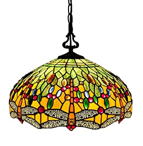 """Tiffany Style Hanging Pendant Lamp Ceiling 18"""" Wide Stained Glass Shade Green Orange Dragonfly Antique Vintage 2 Light Decor Game Living Dining Room Kitchen Gift AM1027HL18B Amora Lighting"""