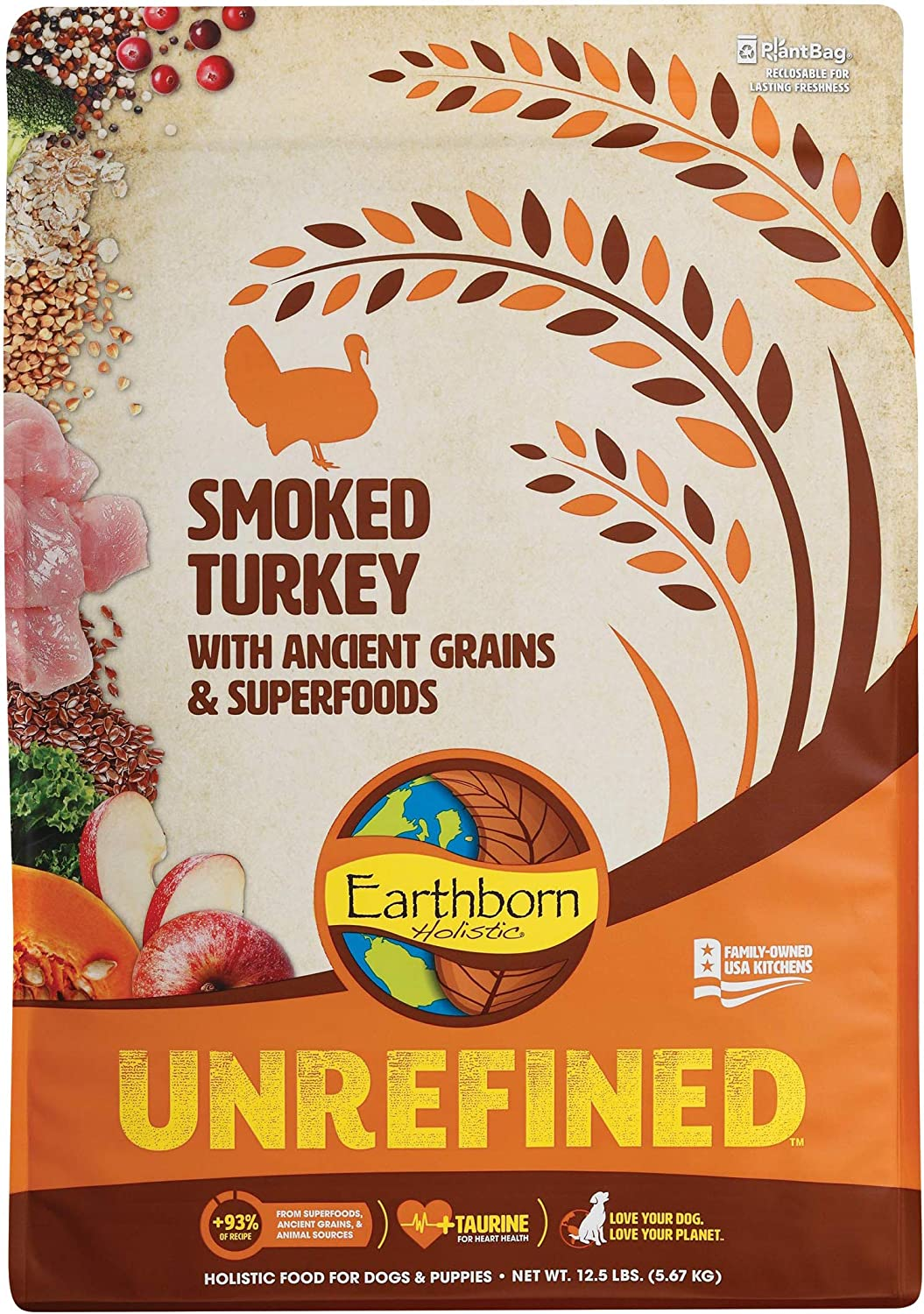 Earthborn Holistic Unrefined Smoked Turkey with Ancient Grains & Superfoods Dry Dog Food