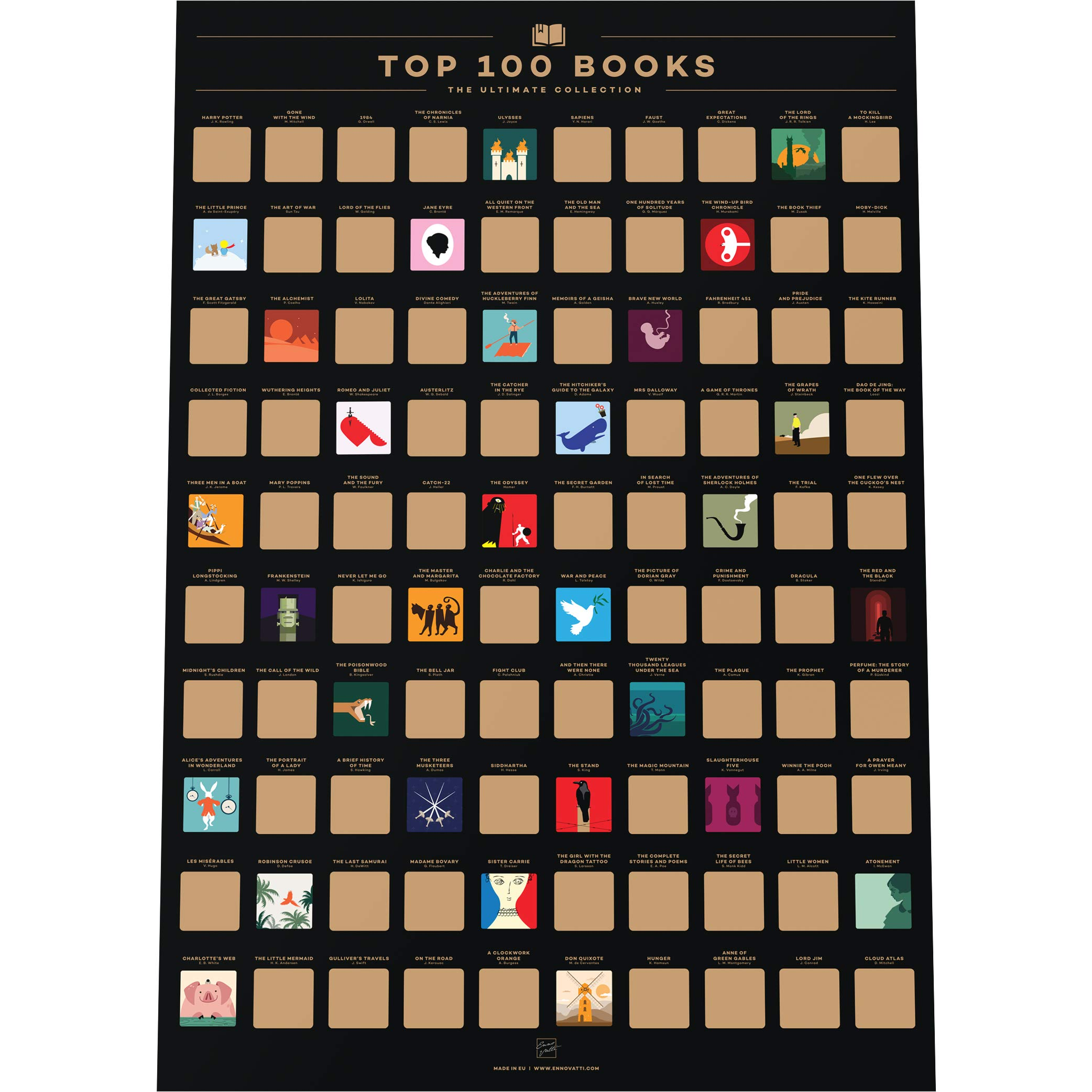 """Enno Vatti 100 Books Scratch Off Poster - Top Reads of All Time Bucket List (16.5"""" x 23.4"""")"""