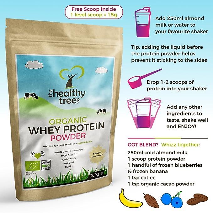 TheHealthyTree Company Proteína de Suero Orgánico en Polvo de 300g (sin sabor) - Alta contenido de aminoácidos y BCAAs - 80% de whey proteína orgánica pura ...