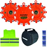 Securityman LED Road Flares with Safety Vest | Perfect Emergency Kit for Roadside & Marine Boat Hazards | Super Bright Warning Beacon/Flashing Distress Light | Car & Truck Magnetic Base (3 Pack)