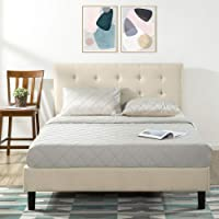 Zinus Modern Upholstered Button Tufted Platform Headboard Fabric Double Bed Frame Base Mattress Foundation with Wooden…