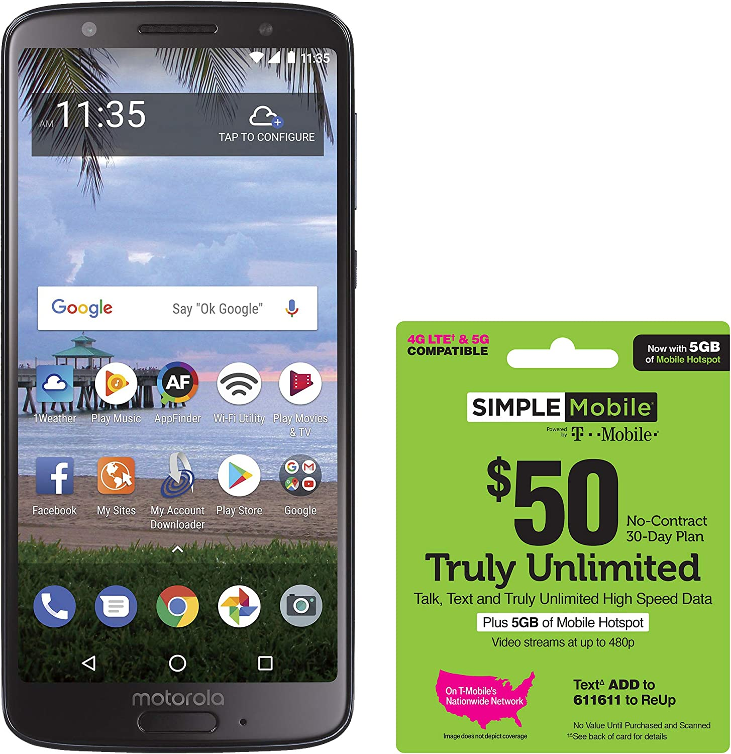 Simple Mobile Motorola Moto G6 4G LTE Prepaid Smartphone with $50 Truly Unlimited Airtime Bundle