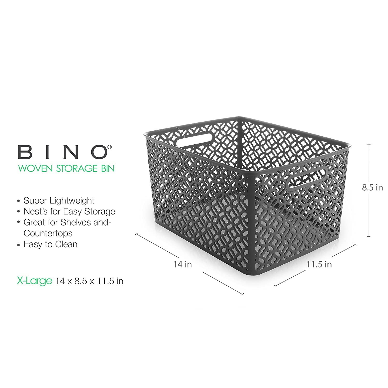 Amazon.com: BINO Woven Plastic Storage Basket, X-Large (Grey): Home ...