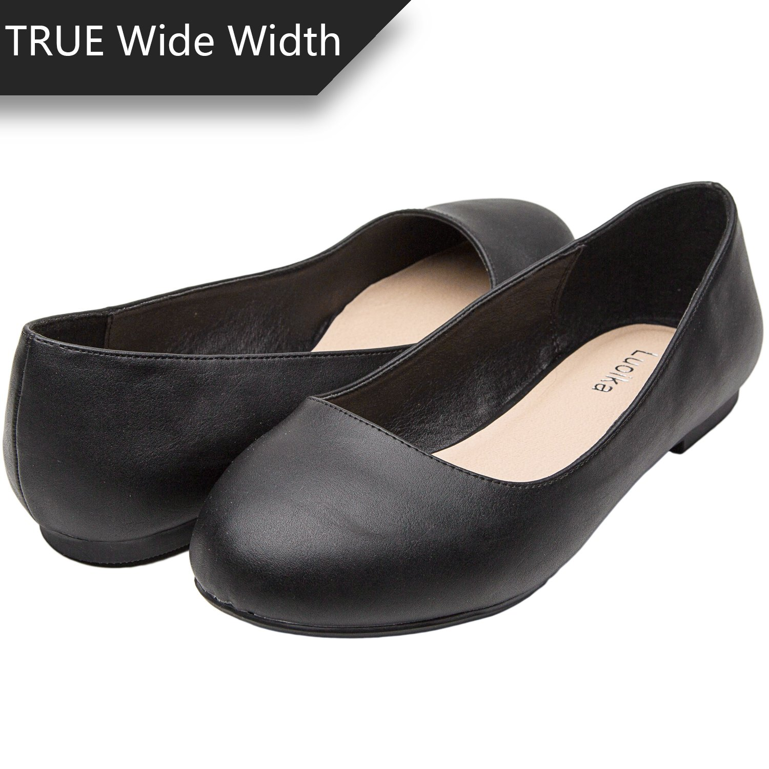 Luoika Women's Wide Width Flat Shoes - Comfortable Slip On Round Toe Ballet Flats. (180110 Black PU,9WW)
