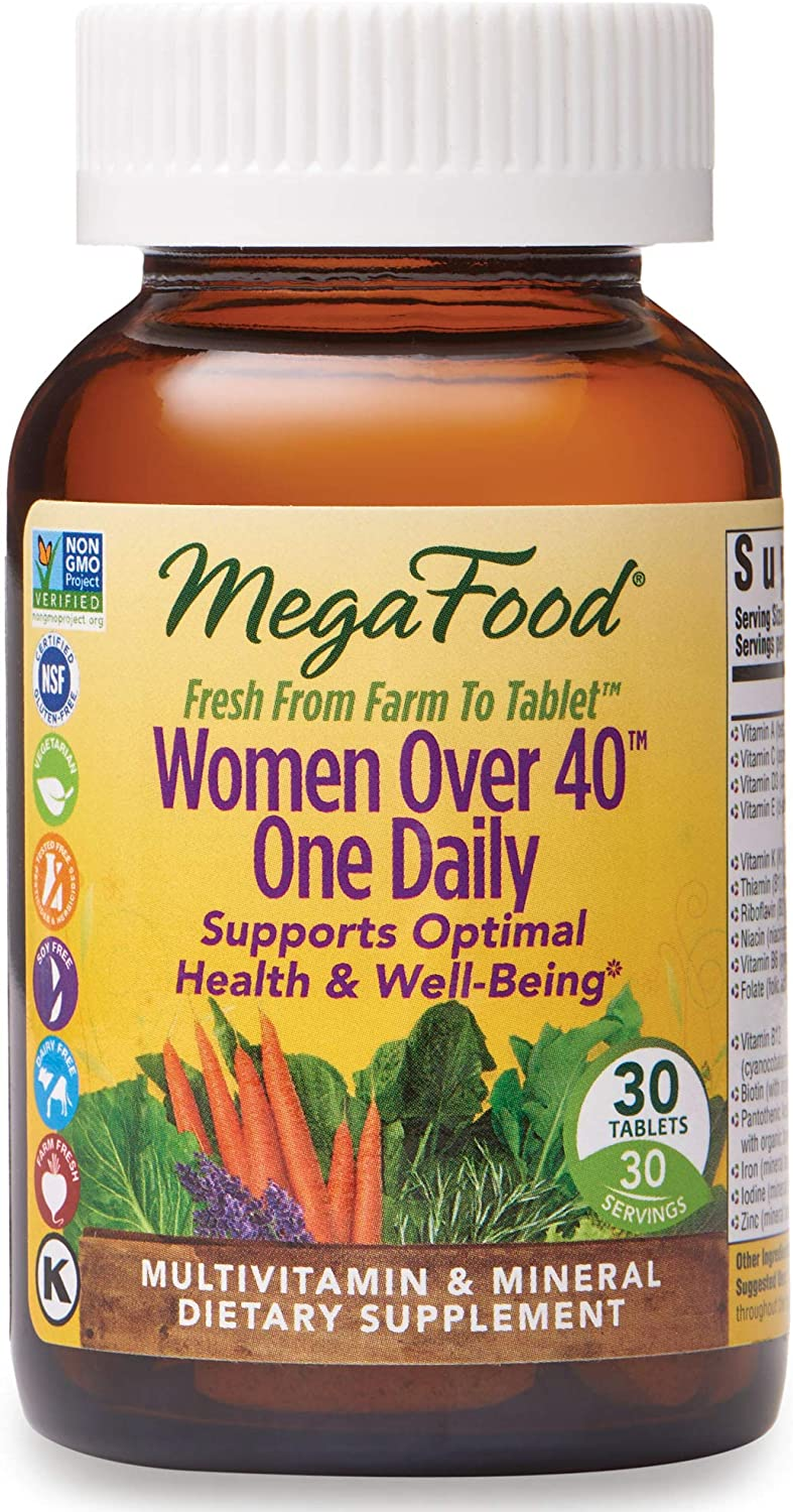 MegaFood, Women Over 40 One Daily, Daily Multivitamin and Mineral Dietary Supplement with Vitamins C, D, Folate, Biotin and Iron, Non-GMO, Vegetarian, 30 Tablets (30 Servings)