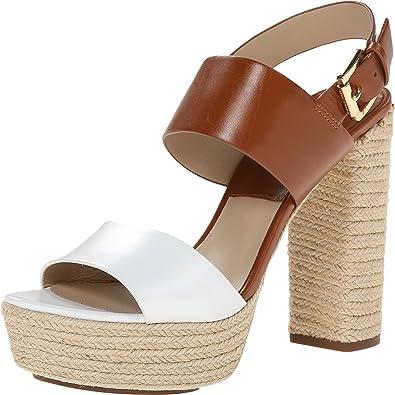 4b9a01453 Michael Kors Women's Summer Optic White/Luggage Smooth Calf/Jute Sandal