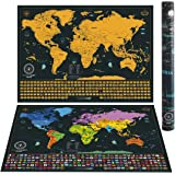 Scratch Off Maps - 24 x 17 Scratch Off World Map + 17 x 13 Scratch Off USA Map - Detailed World Map with US States and all Country Flags + Detailed US Map with State Flags and Landmarks.