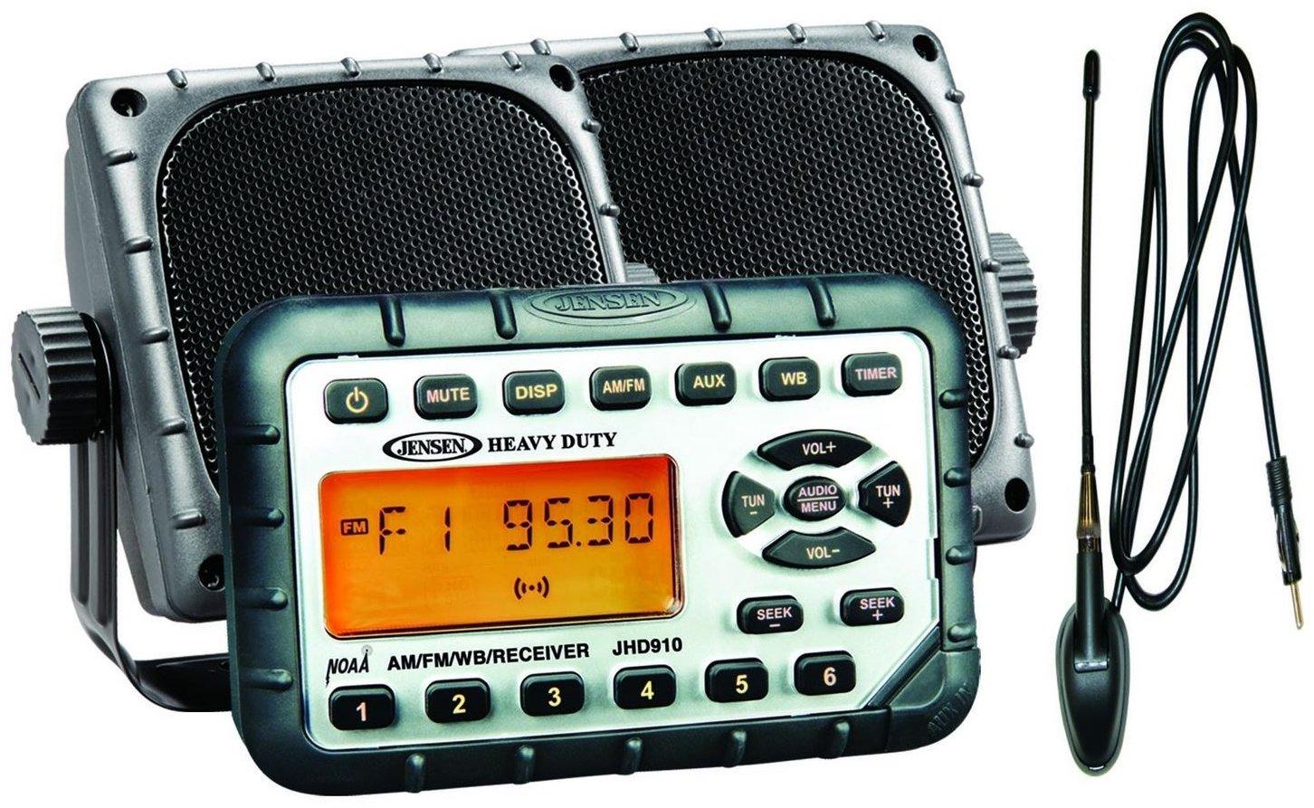 "Jensen JHD910PKG Package - Includes JHD910 Waterproof Mini AM/FM/WB/Stereo, Pair of 3.5"" Waterproof Mini Speakers and Top Side Rubber Antenna - ATV/UTV"