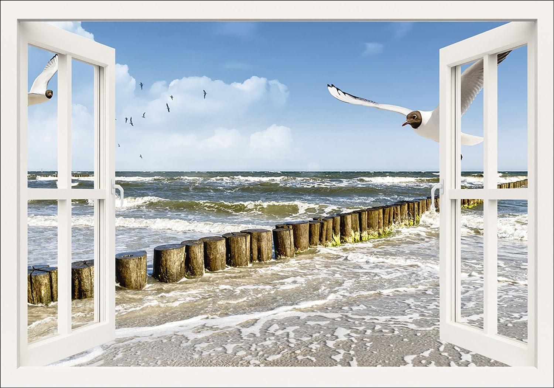 Artland Qualitätsbilder I Bild auf Leinwand Leinwandbilder Wandbilder 100 x 70 cm Landschaften Fensterblick Foto Weiß A8MW Fensterblick Ostsee