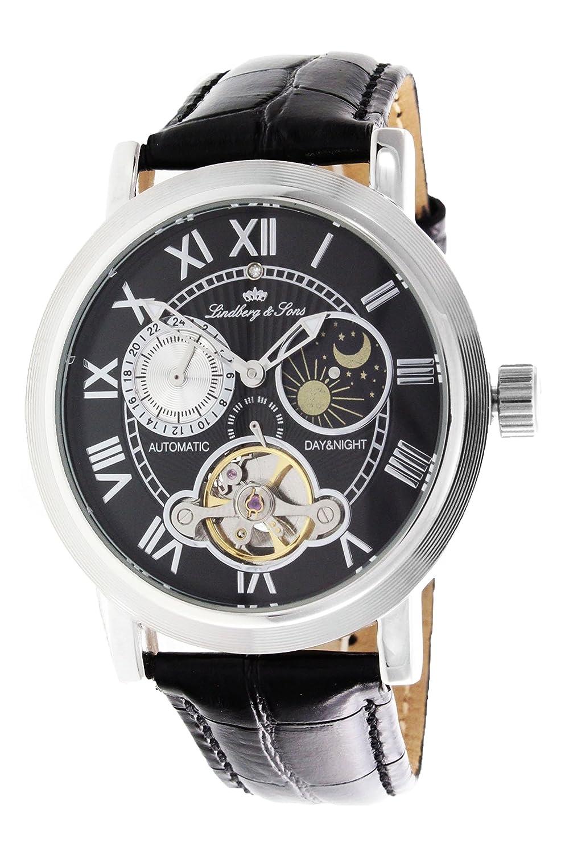 Lindberg & Sons Herren-Armbanduhr mit einem echten Diamanten - 24h Anzeige - Automatik Analog Lederarmband Schwarz -