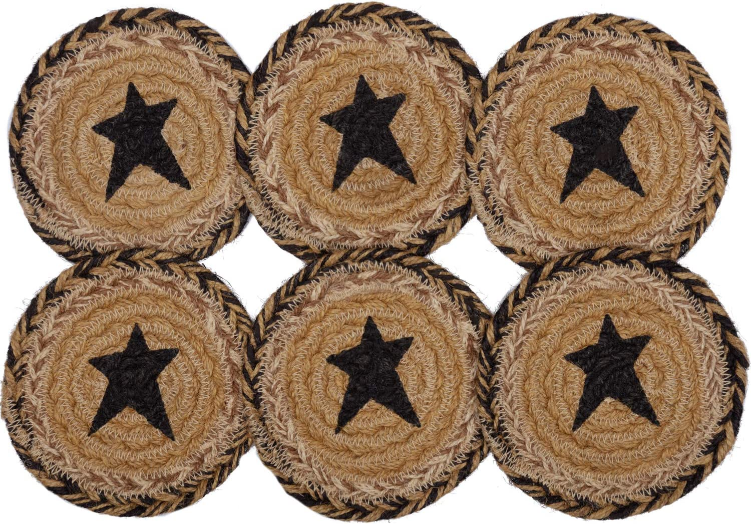 Pine Valley Quilts VHC Brands Primitive Tabletop Kitchen Prim Grove Star Jute Stenciled Round Coaster Set of 6, Natural Tan