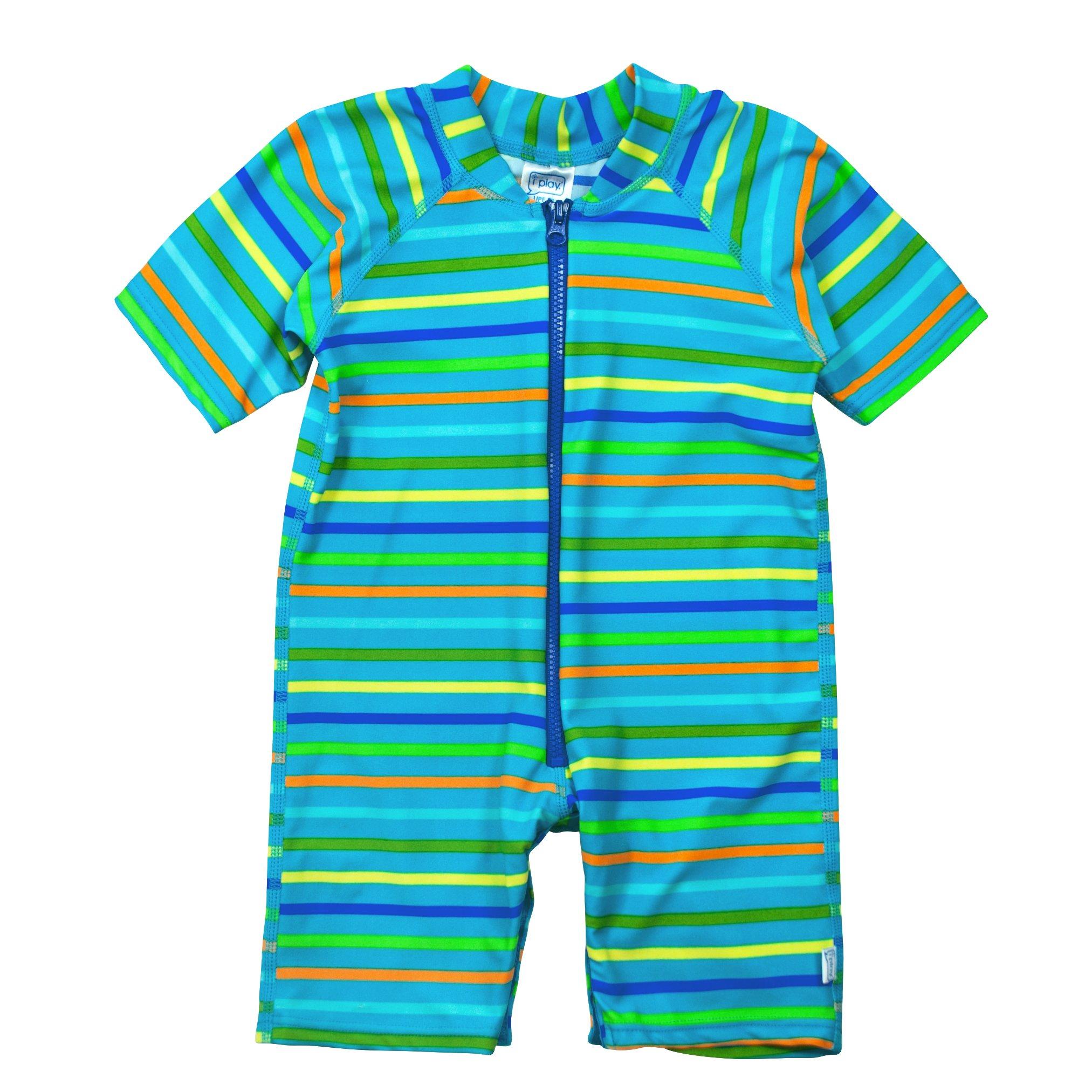 i play. Baby One-Piece Swim Sunsuit, Aqua Stripe, 12mo by i play.