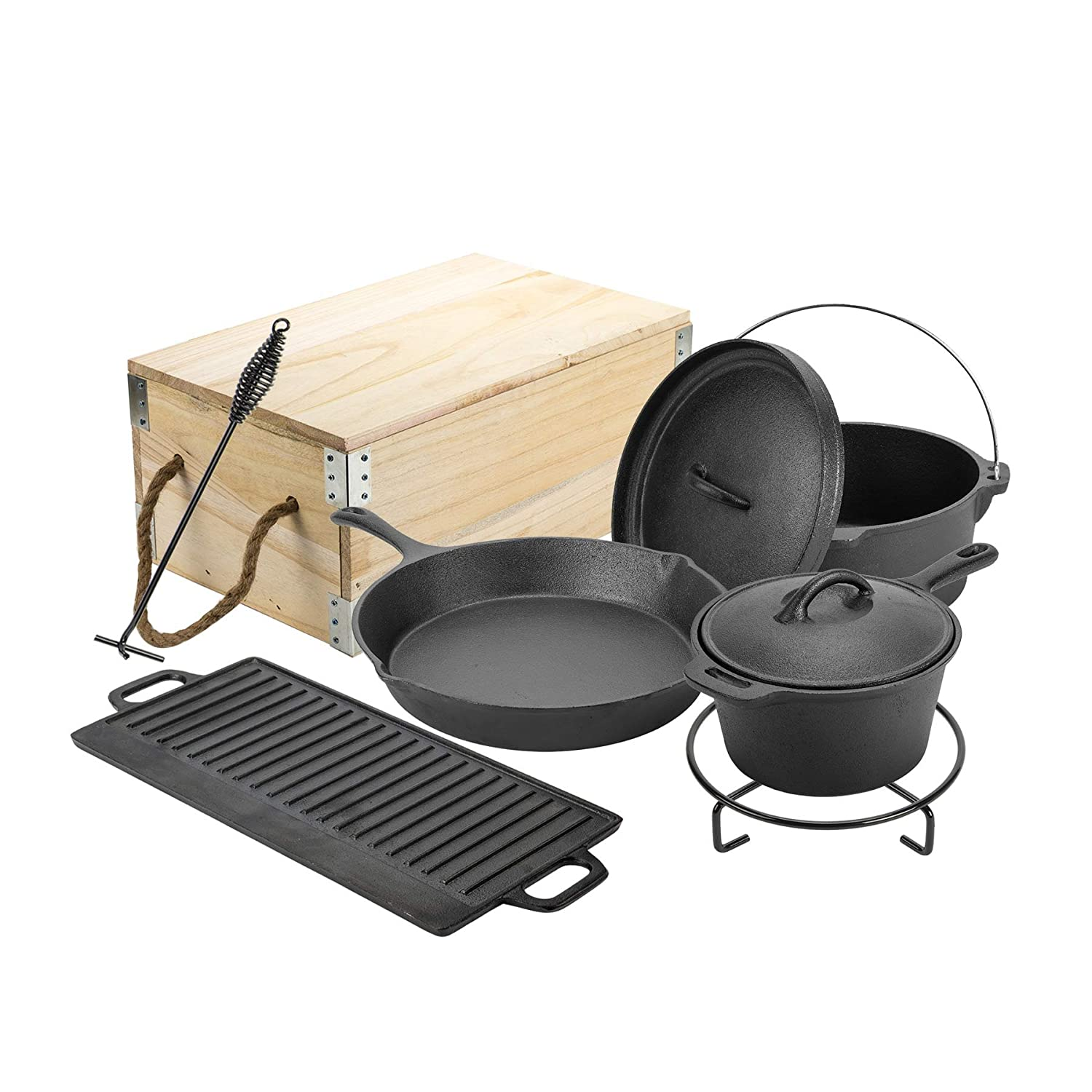 CO-Z Heavy Duty Outdoor Camp Pot Cast Iron Including a Dutch Oven, a Large Skillet, a Sauce Pot, a Griddle, a Trivet and a Lid Lifter