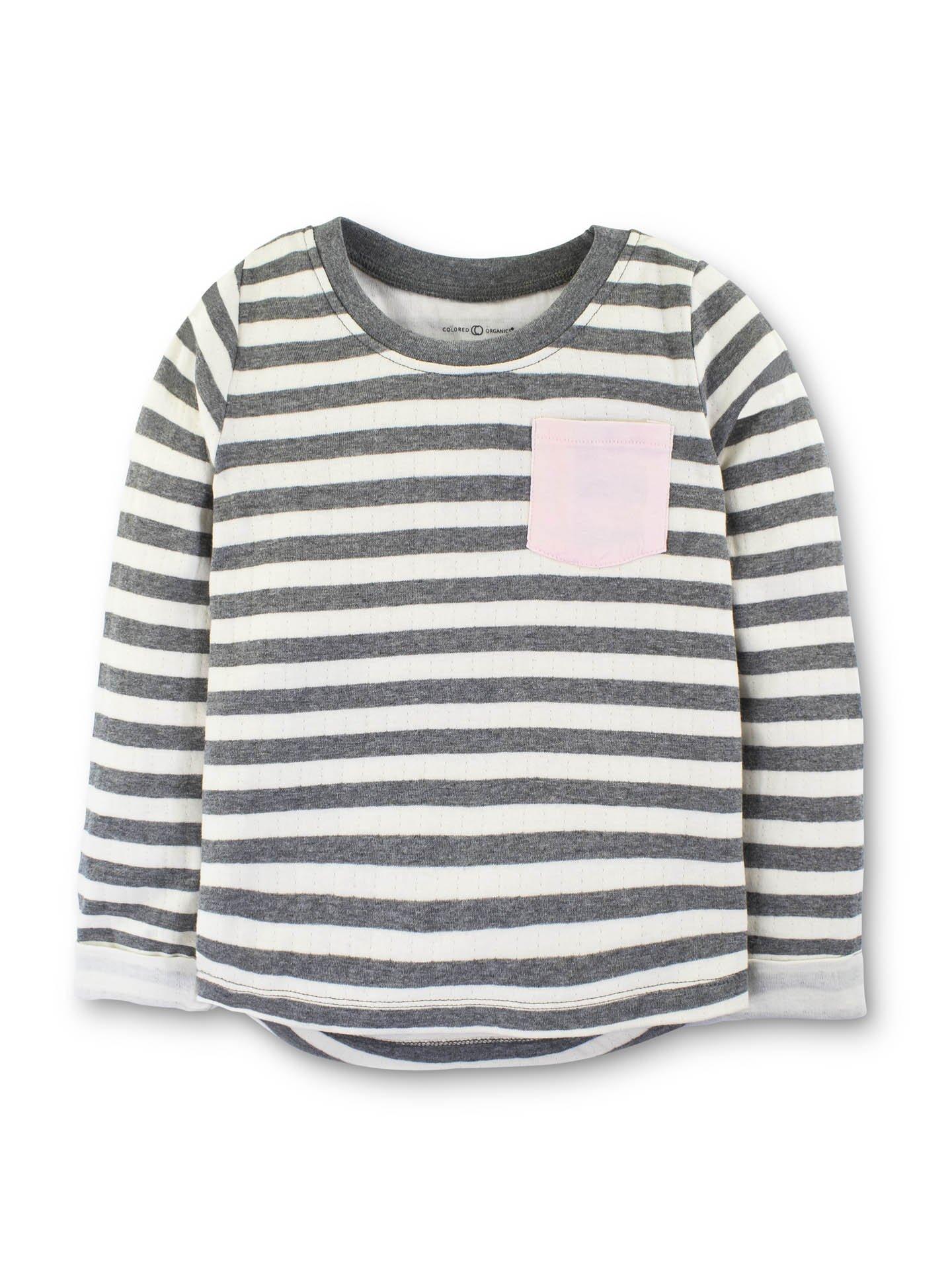 Colored Organics Girls Clara Long Sleeve Doubleknit Crew - Preston Stripe- 5T