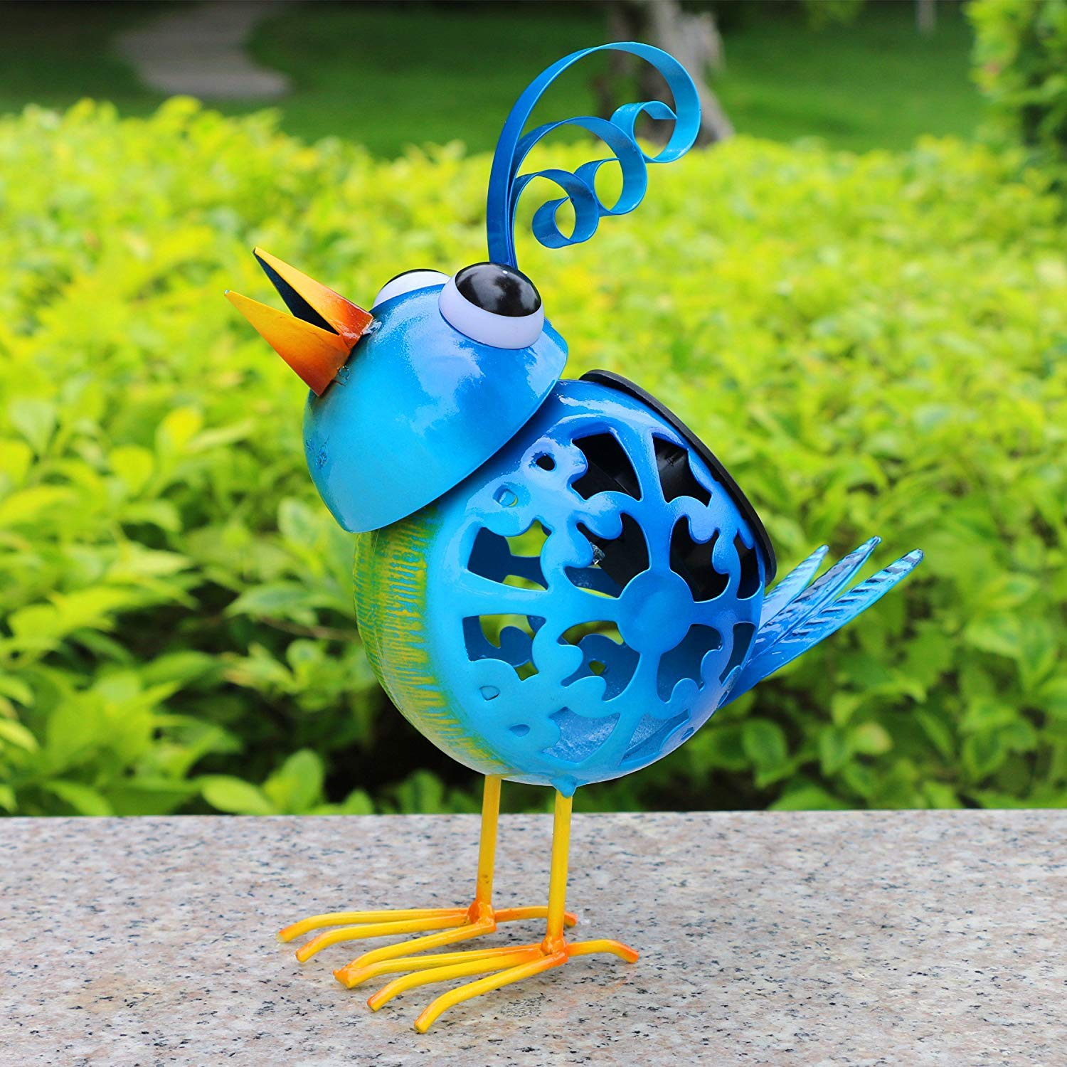 Solar Animal Lights Blue Metal Bird Statues Garden Decor for Pathway Patio Courtyard Seven Colors Changing LED Lights