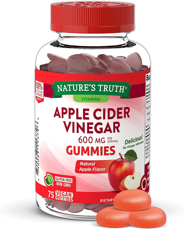 Apple Cider Vinegar Gummies | 600 mg | 75 Gummies | Natural Apple Flavor | Vegan, Non-GMO, Gluten Free | by Nature's Truth