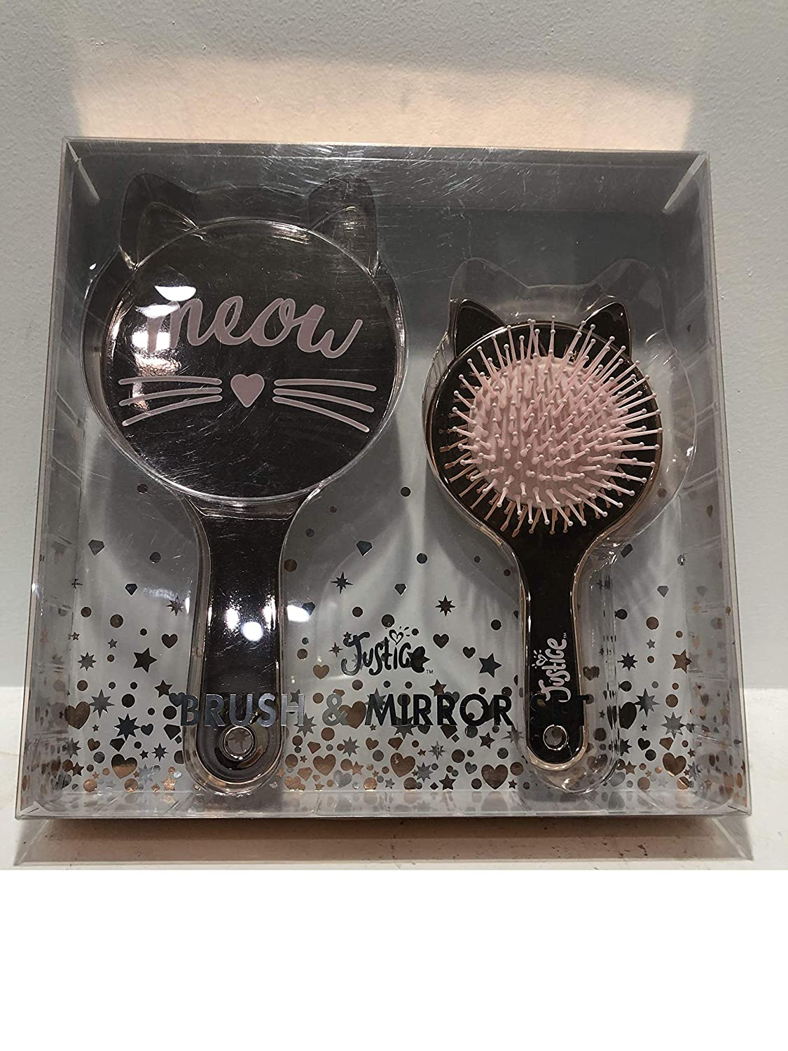 Justice Girl/'s MEOW Cat Brush /& Mirror Set NWT