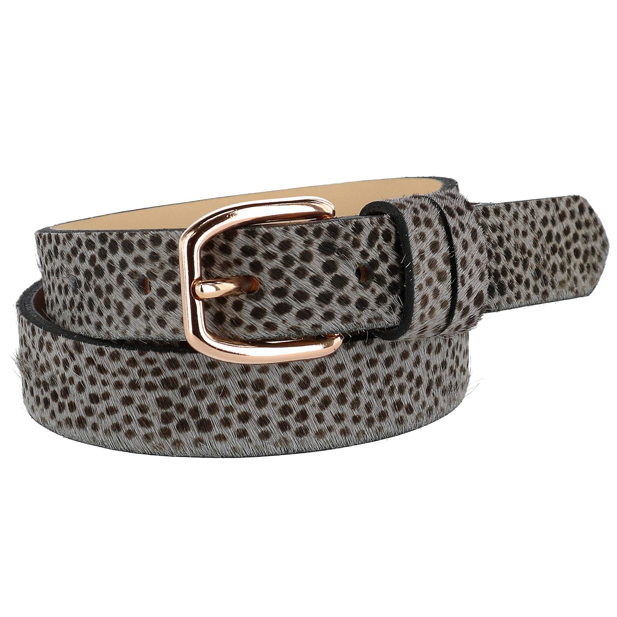 The British Belt Company Women's Tamsin Leopard Print Pony Hair Belt, Medium by The British Belt Co.