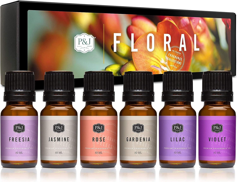 Amazon Com P J Trading Floral Set Of 6 Premium Grade Fragrance Oils Violet Jasmine Rose Lilac Freesia Gardenia 10ml Home Kitchen
