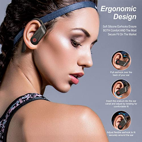 Wireless Earbuds True Mini Bluetooth Best TWS Stereo with Hook Charging Case Mic in Ear Earphones Twins Truly Sport Headphones Headset Sweatproof Gym Running Jogging Workout All Smart Phones Tablets