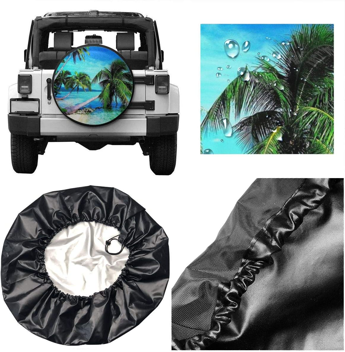 Tropical Palms Trees Navy Blue Ocean Beach Leader Accessories Spare Tire Cover,Waterproof Dust-Proof Fit 23-32 Inches