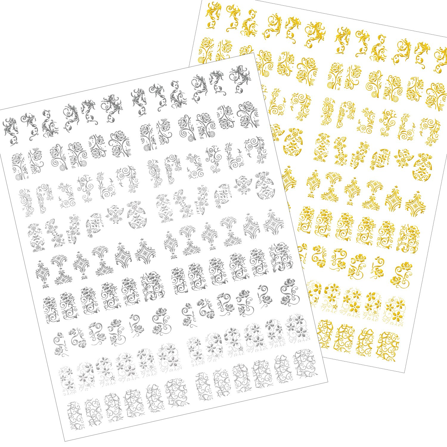 216 Pieces 3D Flower Nail Art Stickers Decals Self-adhesive Nail Tips Decorations, 2 Sheet (Silver and Gold) Mudder