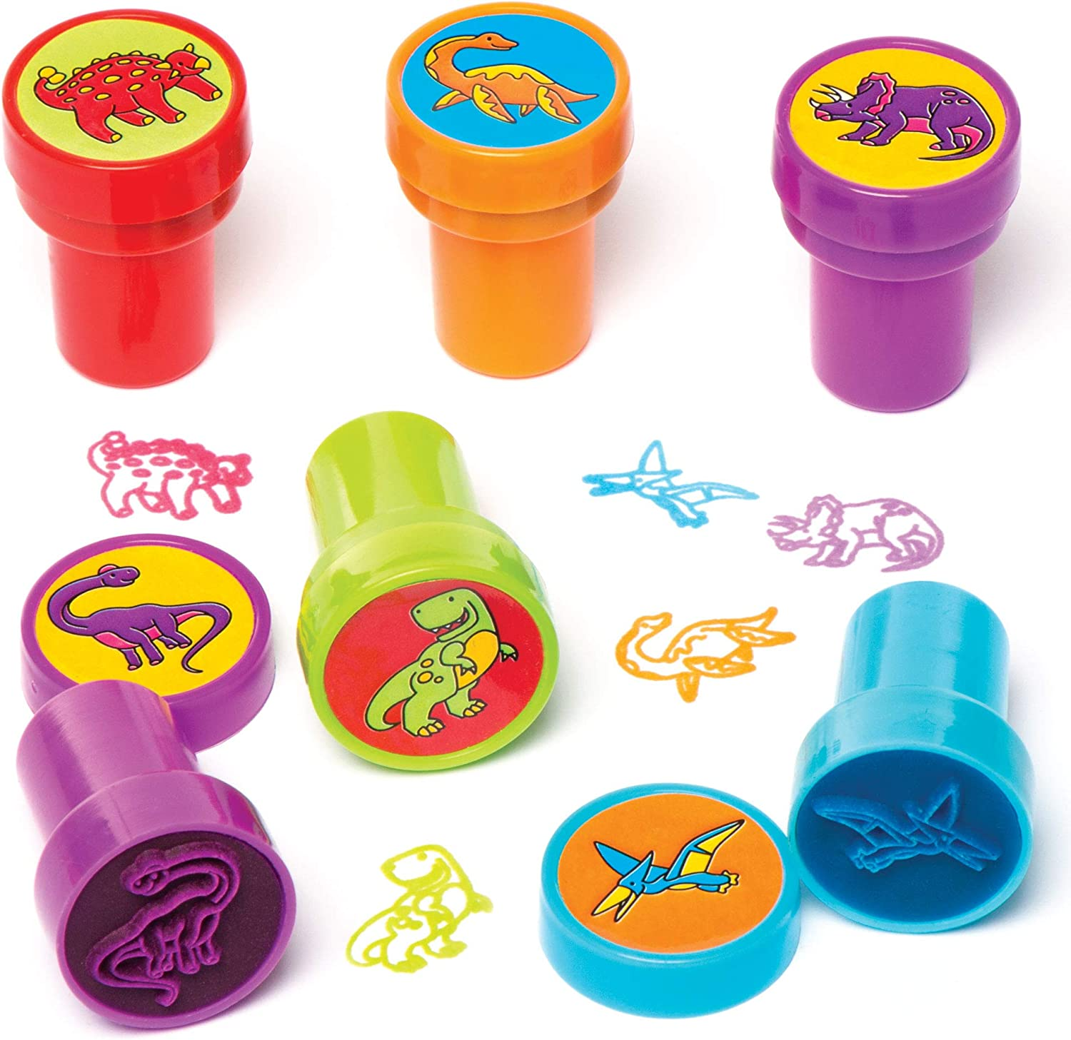 Bulk Dinosaur Stampers Goody Bag Stuffers In Assorted Dino Prints And Bright Colors Party Activity Box Of 24 for Kids Arts /& Crafts