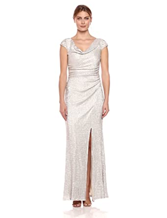 a6e130939d5 Cachet Women s Metallic Cap Sleeve Gown at Amazon Women s Clothing ...