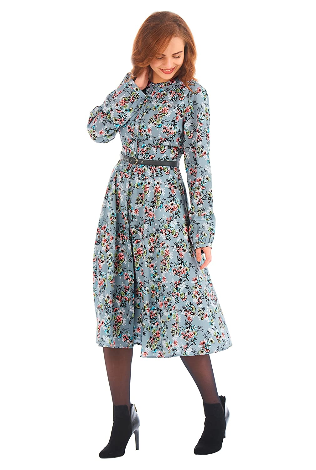1940s Style Dresses and Clothing eShakti Womens Floral print crepe belted shirtdress $73.95 AT vintagedancer.com