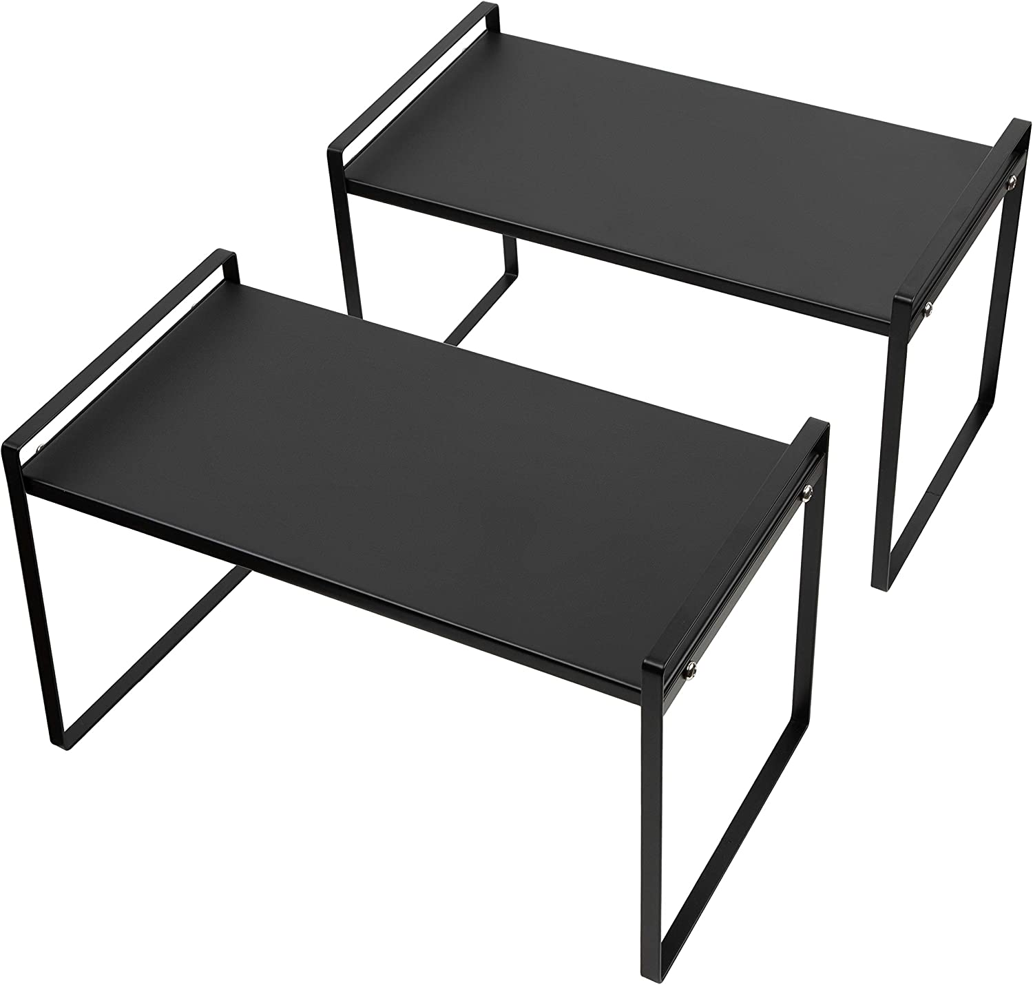 Beeloving 2Pack Stackable Cabinet Shelf Organizer Storage Rack for Countertop Desk Kitchen Bathroom Pantry Cupboard Home Office for Spice Dish Cup Bottle Pot Metal Plate Heavy Duty Nonslip Black Large