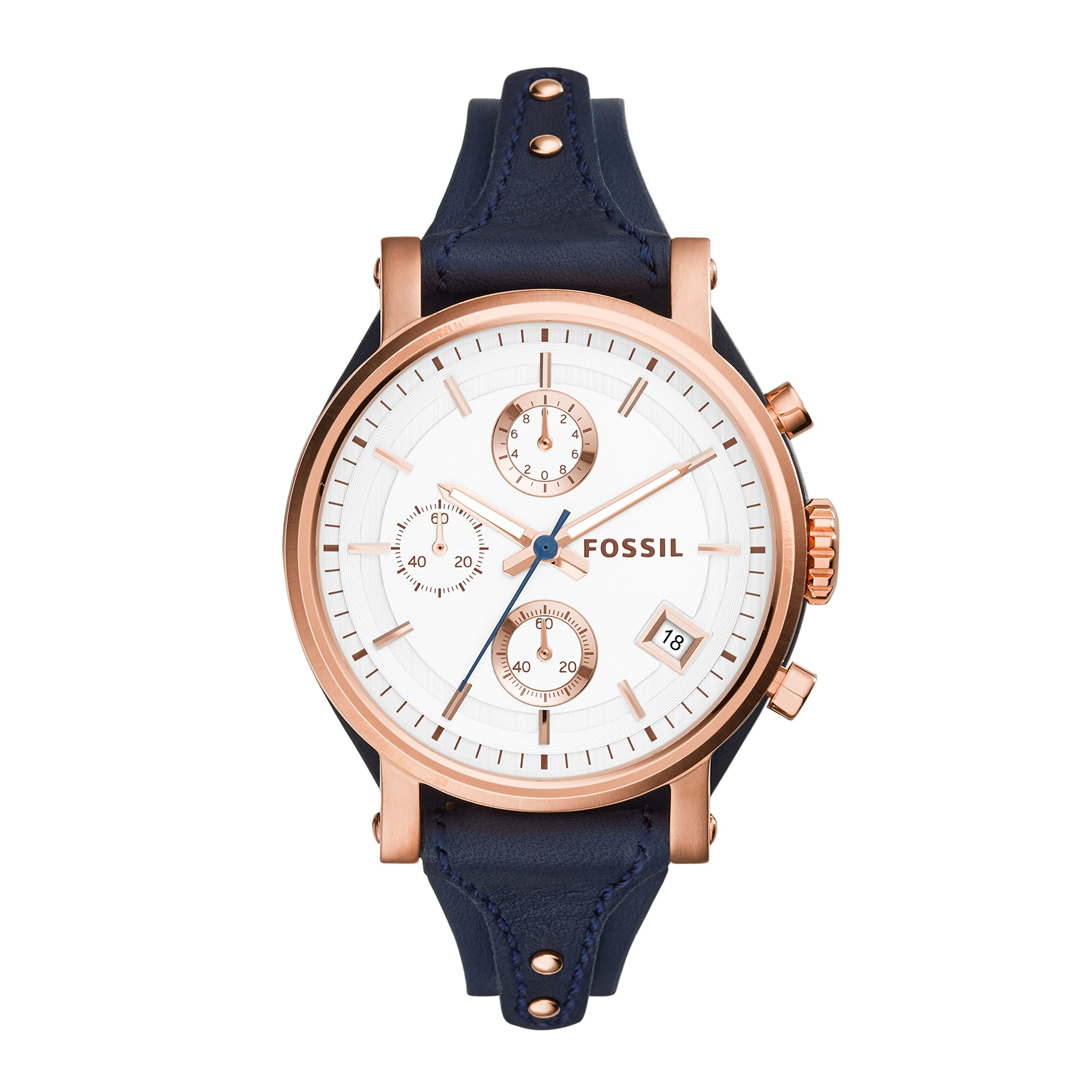 Fossil Women's Original Boyfriend Quartz Stainless Steel and Leather Chronograph Watch, Color: Rose Gold, Navy (Model: ES3838) by Fossil