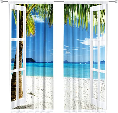 Riyidecor Ocean Beach Curtains Tropical Hawaiian Sea Turquoise Rod Rocket Island Seaside Landscape Palm Trees Windows Printed Living Room Bedroom Window Drapes Treatment Fabric 2 Panels 52 x 84 Inch
