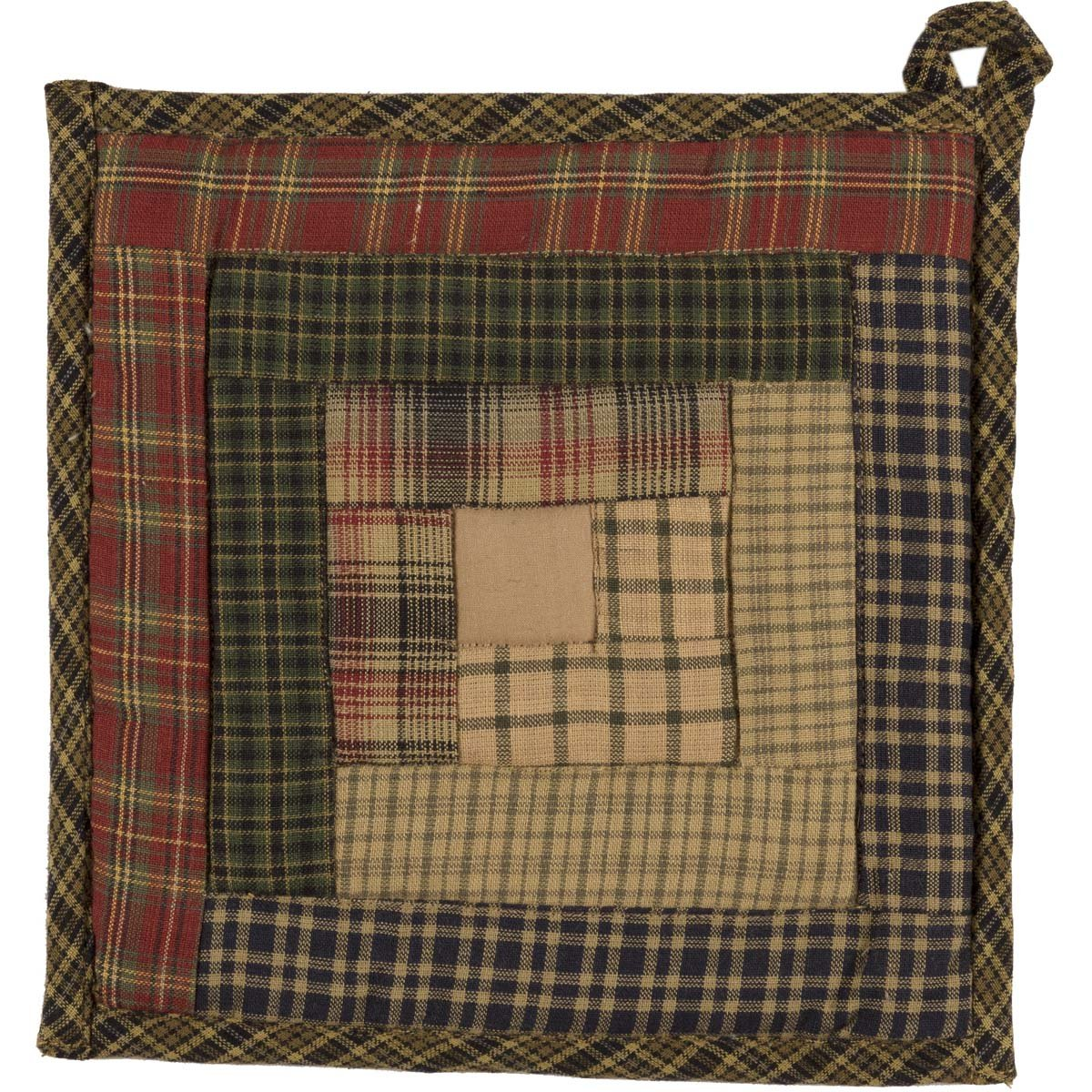 "VHC Brands Rustic & Lodge Tabletop & Kitchen - Tea Cabin Green Patchwork Pot Holder, 8"" x 8"", Moss"