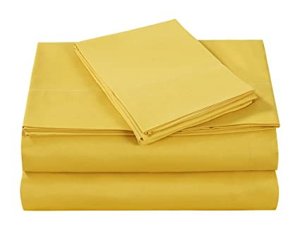 499d9d572 Style Homes 4-Piece Luxury Bed Sheet Set - Ultra Soft Microfiber, Solid  Color, Wrinkle & Shrink Resistant, Hypoallergenic - Full, Spicy Mustard