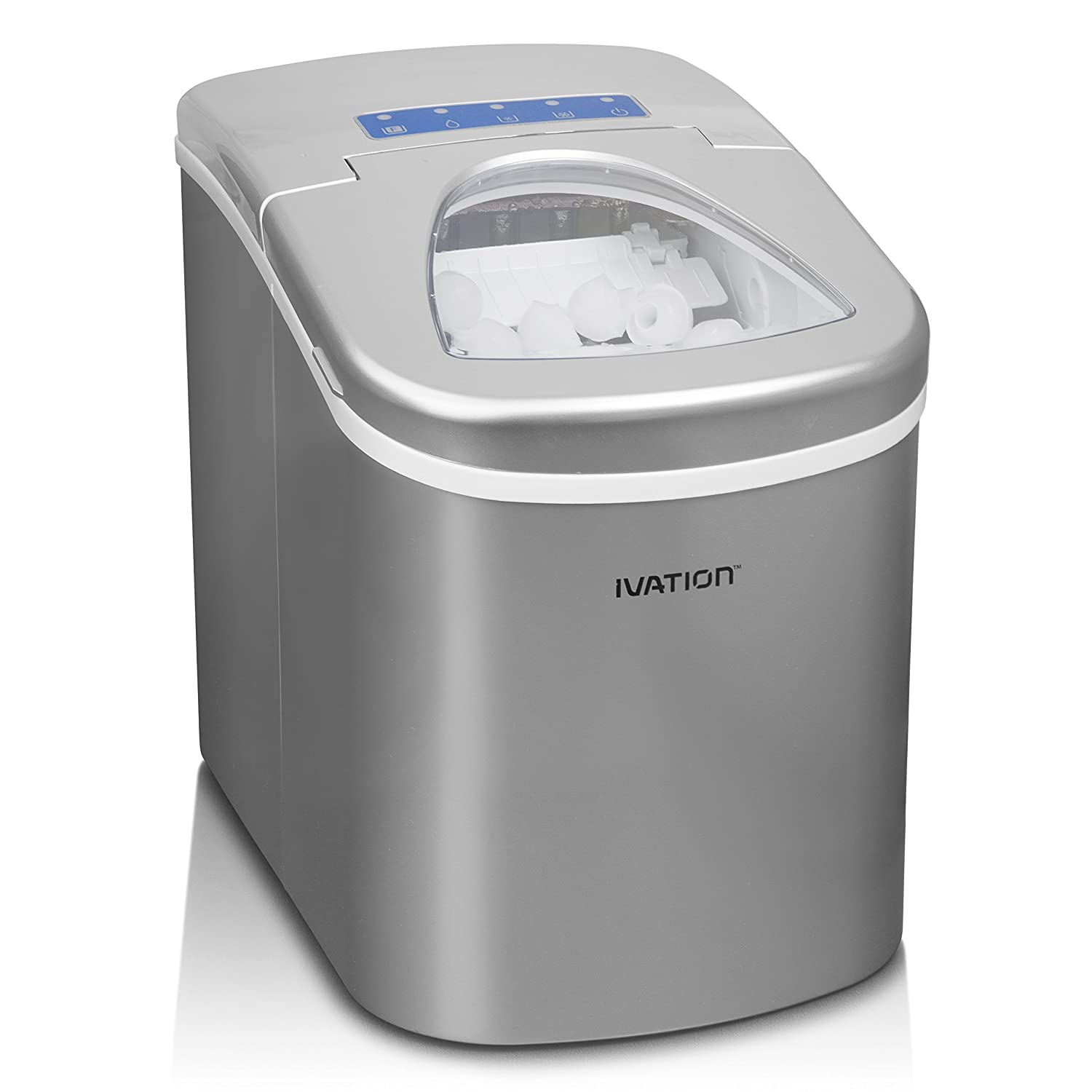 Ivation Portable Ice Maker w/Easy-Touch Buttons for Digital Operation - 2 Selectable Cube Sizes - Yield Up To 26.5 Pounds of Ice Daily
