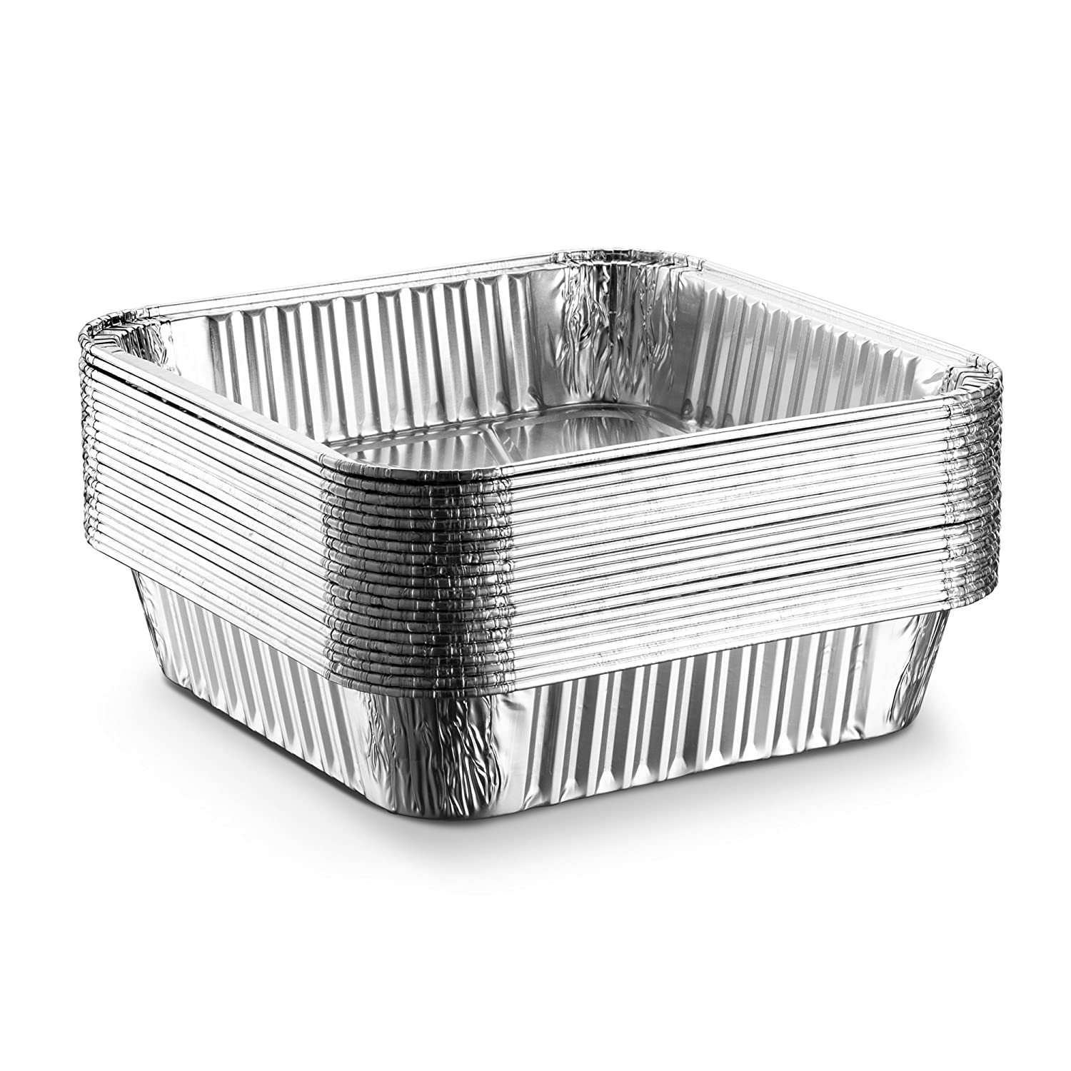 Roasting Pack of 30 Broiling Propack Square baking Pans 8/'/'x8/'/' Disposable Aluminum Foil Baking Tins For Baking Cooking