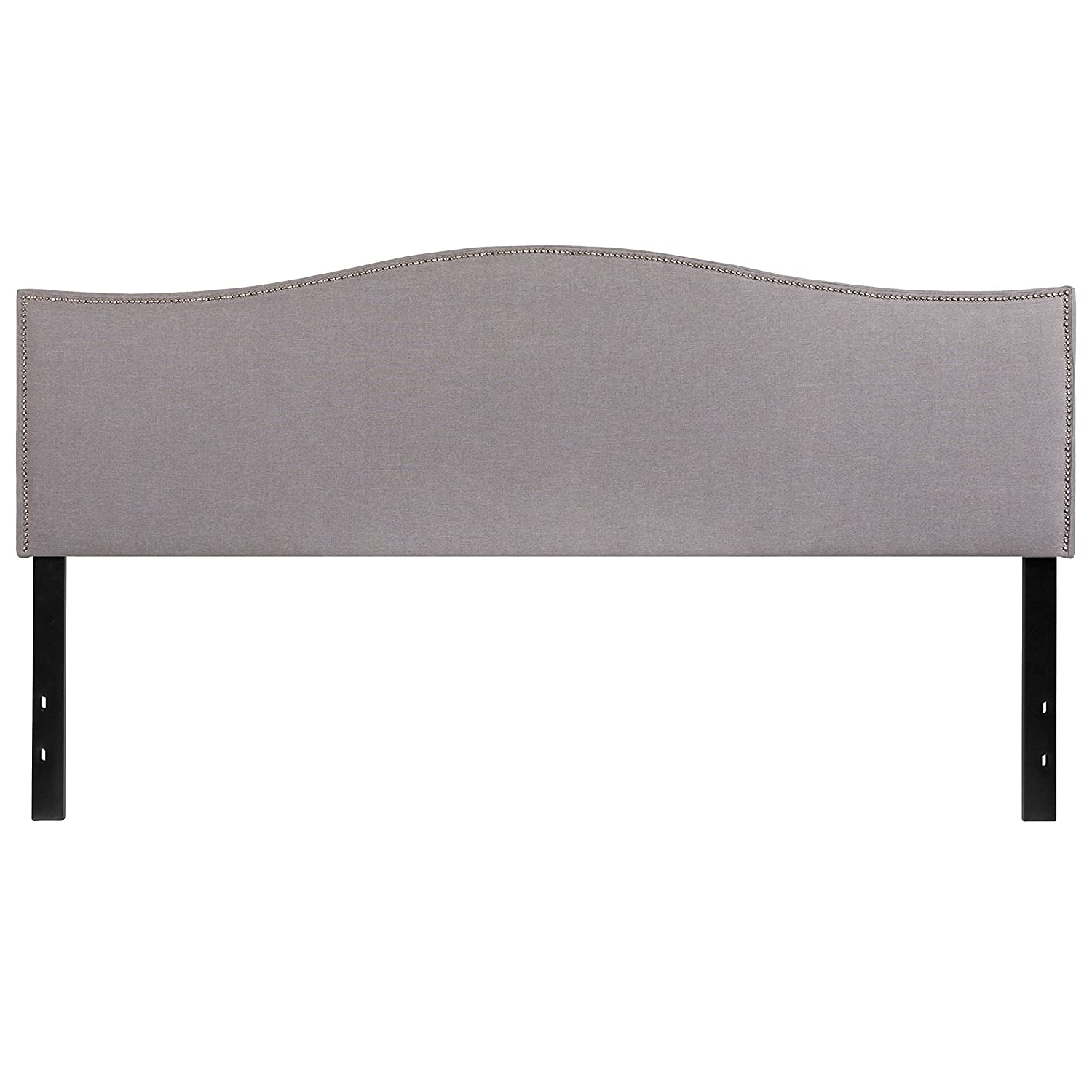 Flash Furniture Lexington Upholstered King Size Headboard with Accent Nail Trim in Light Gray Fabric