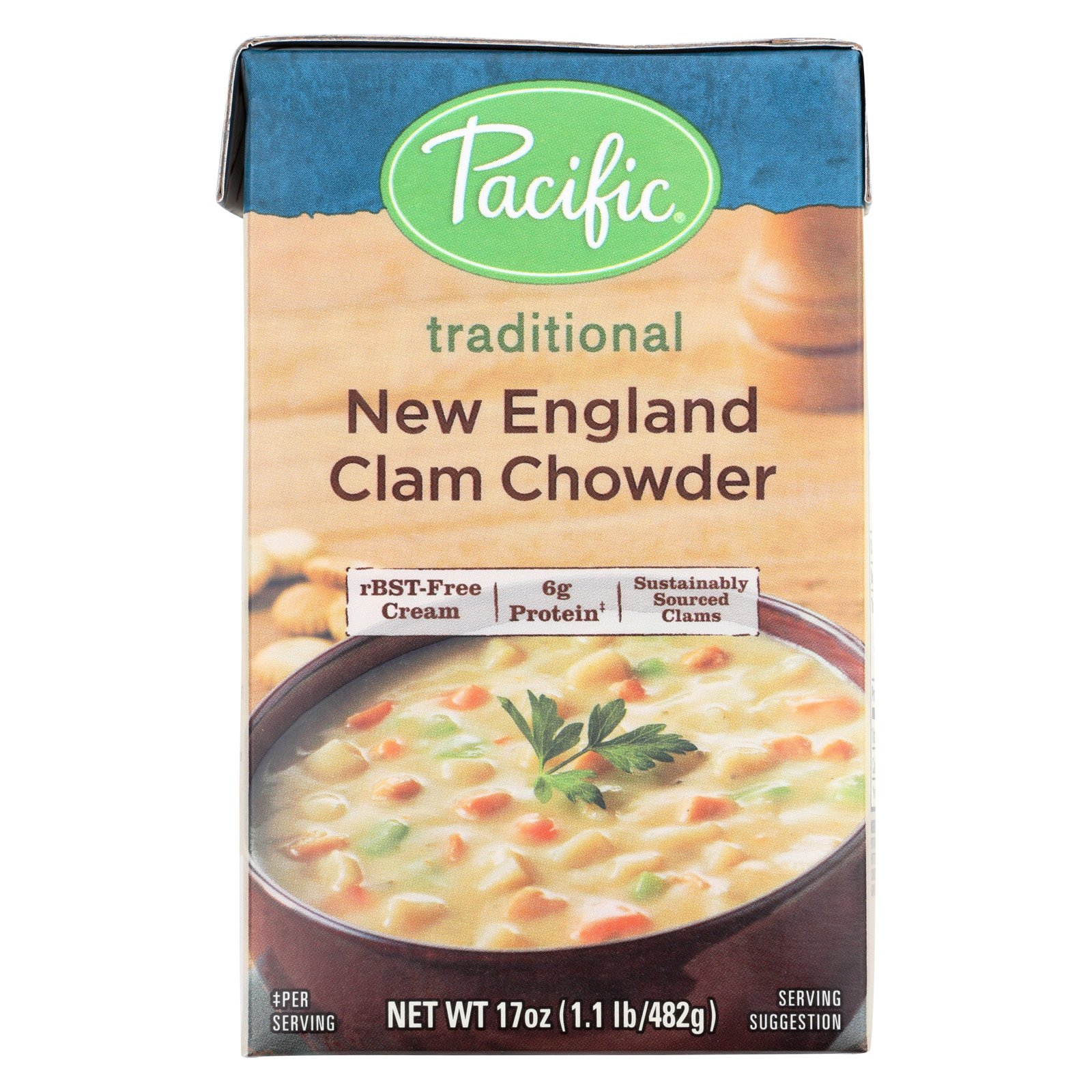 Pacific Natural Foods Clam Chowder - New England - Case of 12 - 17 oz.
